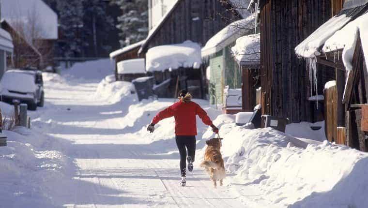 Mujer corriendo con perro, Breckenridge, CO