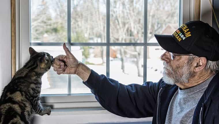Una persona real de 67 años, un veterano de la Marina de los EE. UU. En la Guerra de Vietnam, está jugando y hablando con su mascota, un gato atigrado, que está en equilibrio sobre el alféizar de la ventana de un dormitorio.